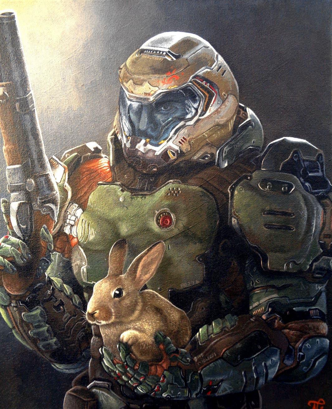 doomguy and rabbit