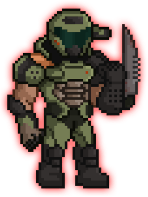 pixel doom slayer